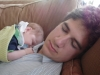napping with newborn Silas
